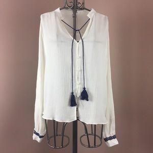 Honey Belle boho white linen blend top